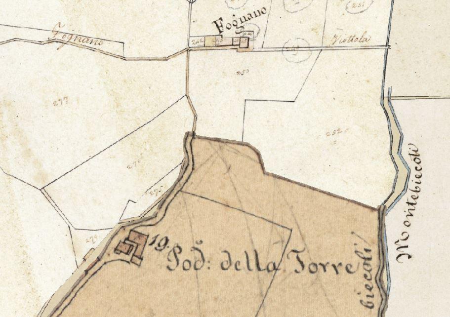 La Torre del Chito come riportato nella Mappa del nuovo catasto del Granducato di Toscana, 1820-1830. Progetto C A S T O R E - Regione Toscana e Archivi di Stato toscani.