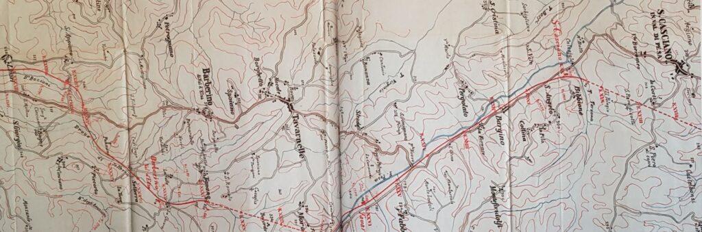 Mappa della Ferrovia nel tratto della Val di Pesa