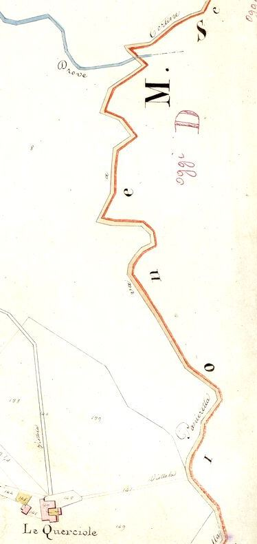 Il tratto della strada meglio conservarto. Mappa del nuovo catasto del Granducato di Toscana, 1820-1830. Progetto C A S T O R E - Regione Toscana e Archivi di Stato toscani.