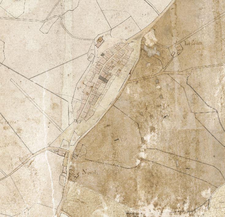 Il borgo di Barberino attorno al 1820. Progetto C A S T O R E – Regione Toscana e Archivi di Stato toscani.