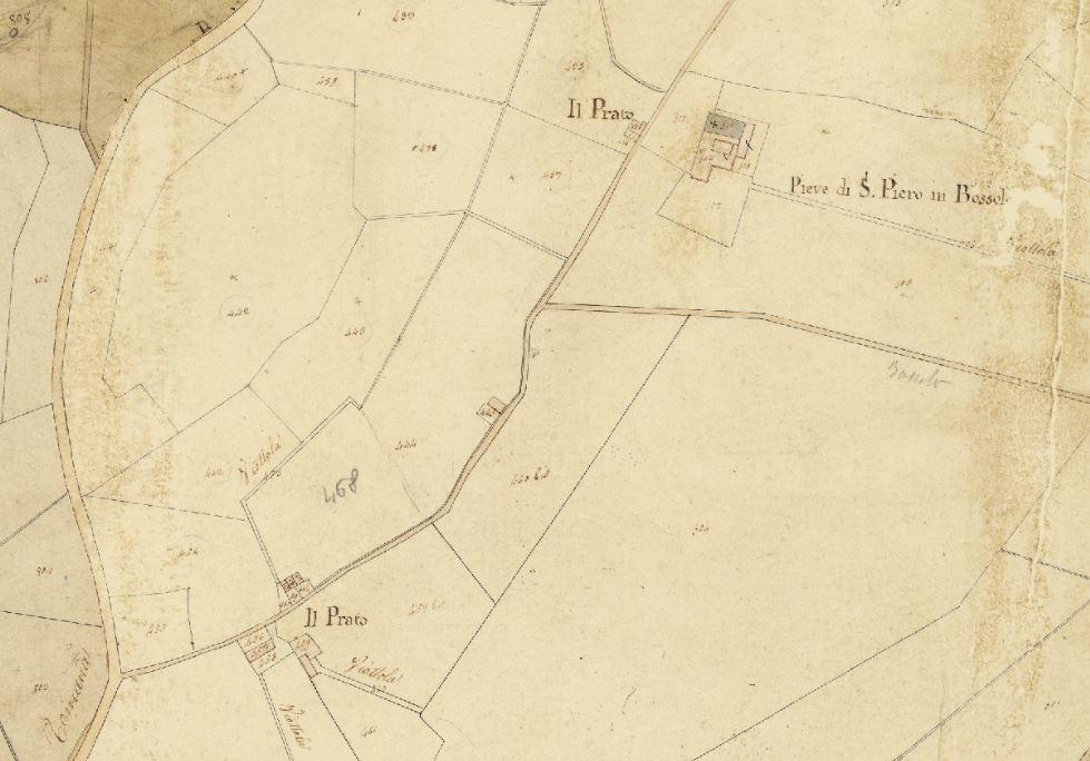 L'area attorno alla pieve di San Piero in Bossolo attorno al 1820. Progetto C A S T O R E – Regione Toscana e Archivi di Stato toscani.