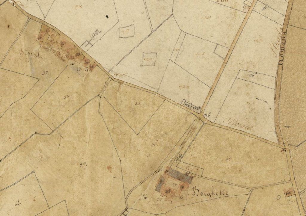 Il Mocale e il Borghetto attorno al 1820. Progetto C A S T O R E – Regione Toscana e Archivi di Stato toscani.