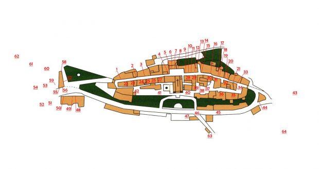 Mappa dei mestieri di Barberino nel 1950. Opera di Filippo Nannoni