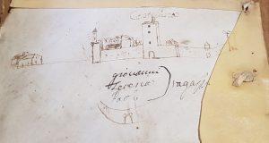 Castellina, una raffigurazione delle mura alla fine del cinquecento