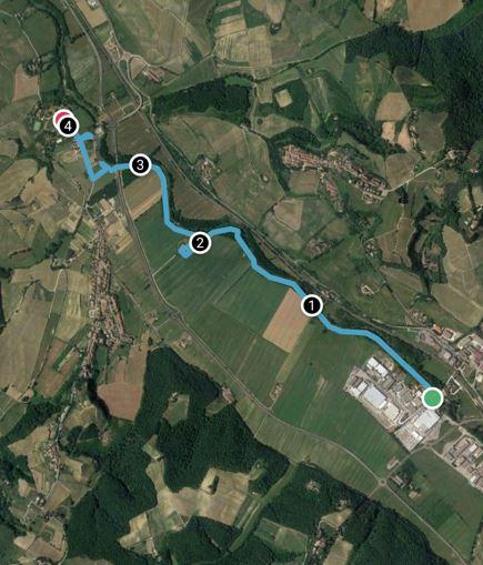 La mappa del percorso lungo l'Elsa tra La Zambra e San Galgano