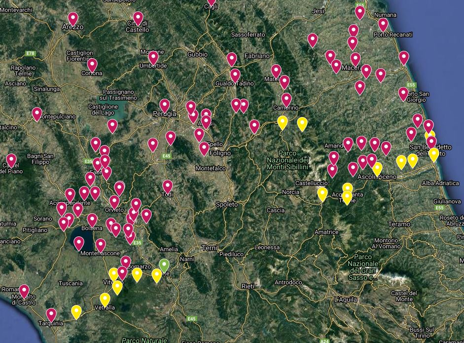 """L'area del confine di utilizzo della parola """"babbo"""" tra Lazio, Umbria e Marche."""