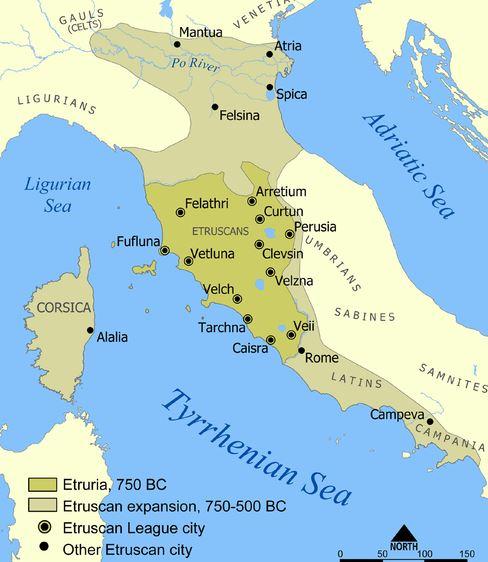 Mappa dell'area della civiltà Etrusca. Da Wikipedia, Autore Norman Einstein. Licenza Creative Commons Attribuzione-Condividi allo stesso modo 3.0 Unported